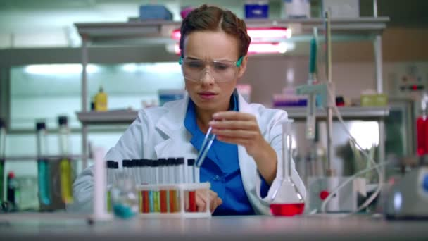 Woman researcher in lab. Research scientist working in research laboratory