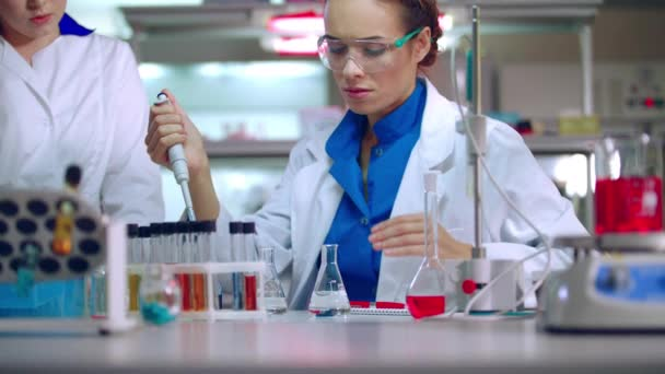 Studenta chemie v laboratoři. Mladí chemické vědec, který pracuje s chemickou kapalinou