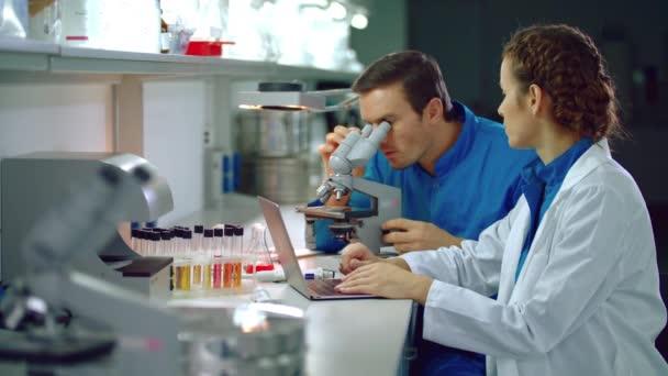 Vědec tým pracující v laboratoři. Laboratorní tým dělá výzkumu mikroskopu