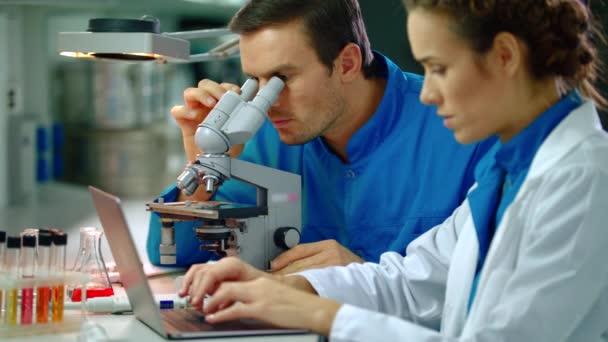 Laboratoře doktor týmová práce v laboratoři. Lékařský tým dělá výzkumu mikroskopu