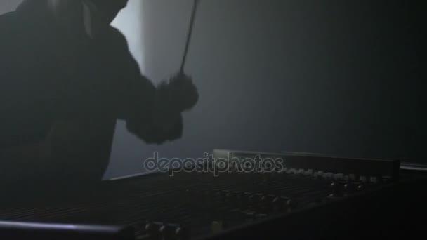 Cimbalom hangszer. Hagyományos húros hangszer. Cimbal lejátszó zene