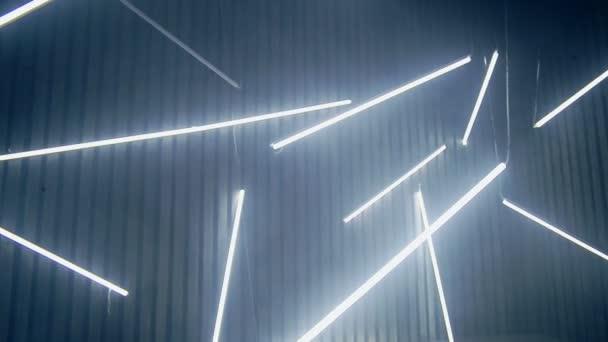 Neon Lamps Background. Luminescent Lamps Shine In Dark. Club Lights U2014 Stock  Video
