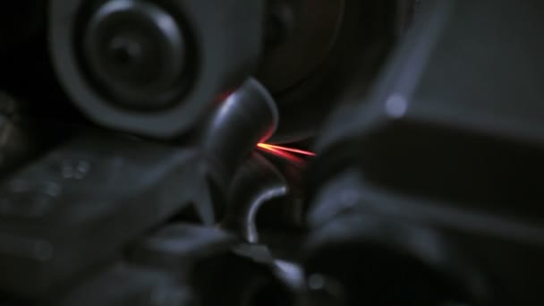 Red spark on industrial machinery equipment. Steel manufacturing machine
