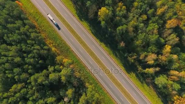 Dálnice silnice mezi stromy. Letecký pohled na Truck jízdě na silnici v lese