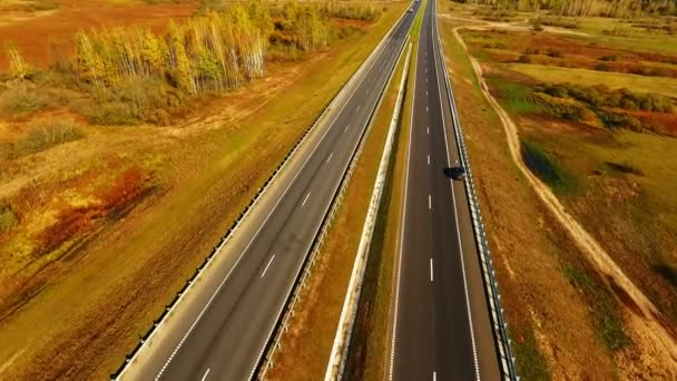 Top view straight road on background autumn landscape. Autumn forest and road