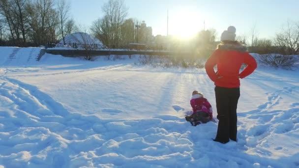 Winter family vacation. Happy snow fun. Enjoy winter