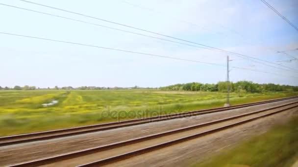 Železniční vlak pohybující se. Rychlost zobrazení železnice. Vysokorychlostní vlak. Pohybující se vlak