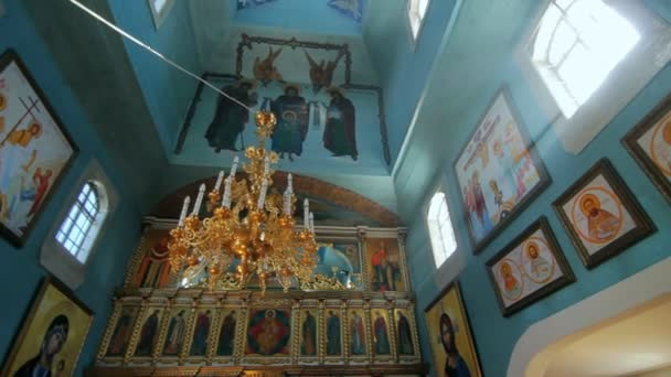 Panoramic view inside of old orthodox church. Church building interior