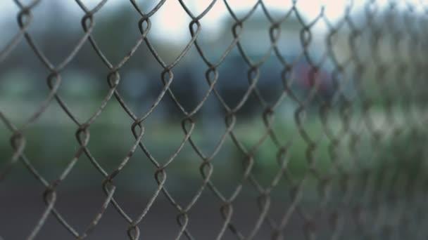 Weibliche Hand mit Ring und blauen Maniküre berühren Zaun Netz ...
