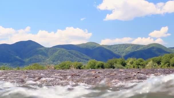 Great landscape with fast mountain river water. Beautiful nature background