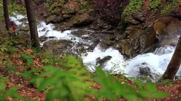 Vodopád horské krajiny. Řeka v hornaté oblasti