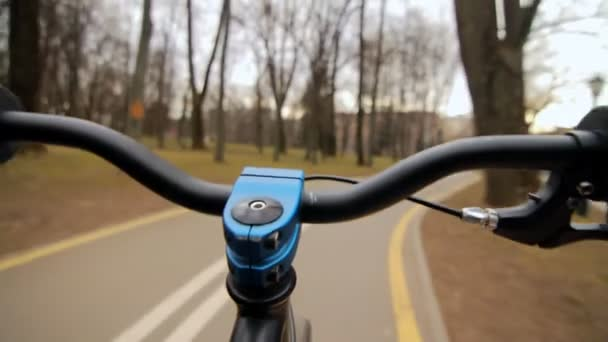 Pohled z řidítka při jízdě. Jízdní kolo na asfaltové park road