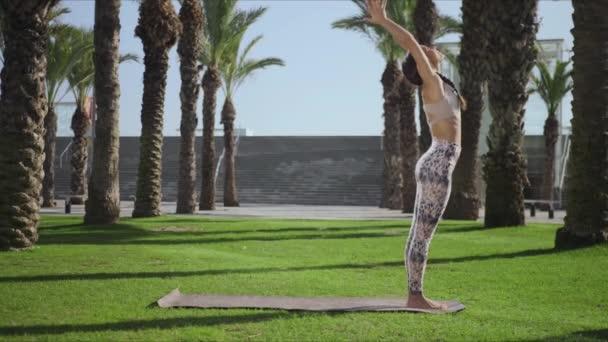 Žena v parku pózuje na palmách. Dívka cvičí jógu venku