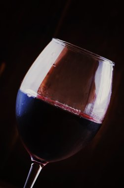 Chilled dry red wine in the glass.