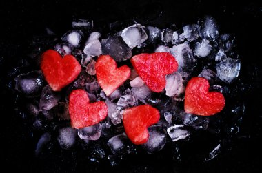 Red sweet watermelon hearts