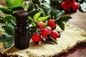 Fotografie Essential oil of rosehip and fresh berries and leaves