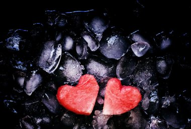 Sweet hearts of watermelon on crushed ice