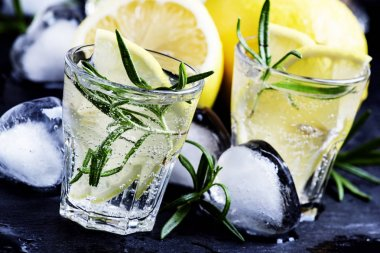 Fizzy lemonade with lemon, rosemary and ice
