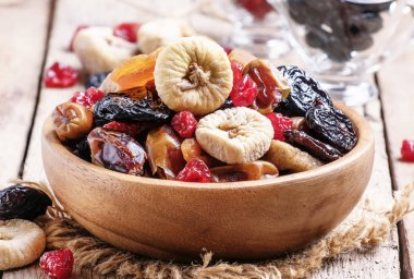 Healthy food: mix from dried fruits in bowl