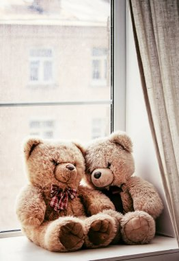 Brown teddy bears on the window on a rainy day