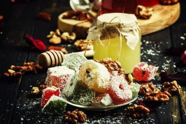 Rahat lukum, oriental sweets with honey, nuts and coconut