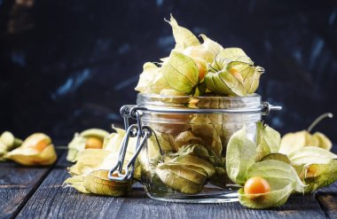 Physalis in a glass jar