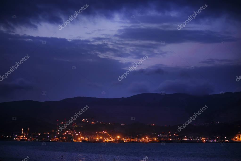 Night panorama of the sea port town