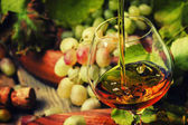 Cognac Pour üveg, szőlő, szőlő