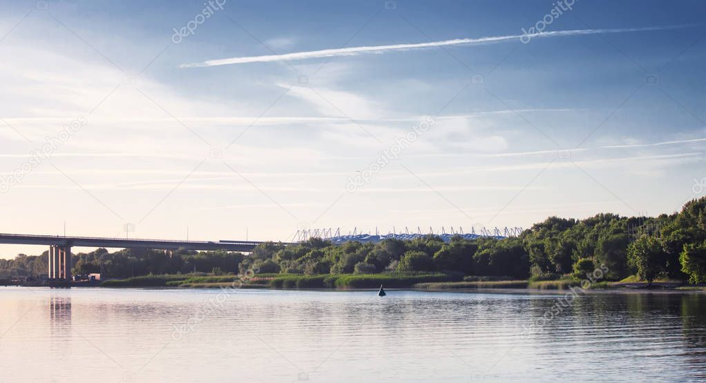 Rostov-on-Don, Russia - June 4, 2017: View to the left bank of the Don river, bridge and stadium Rostov Arena in summer, selective focus