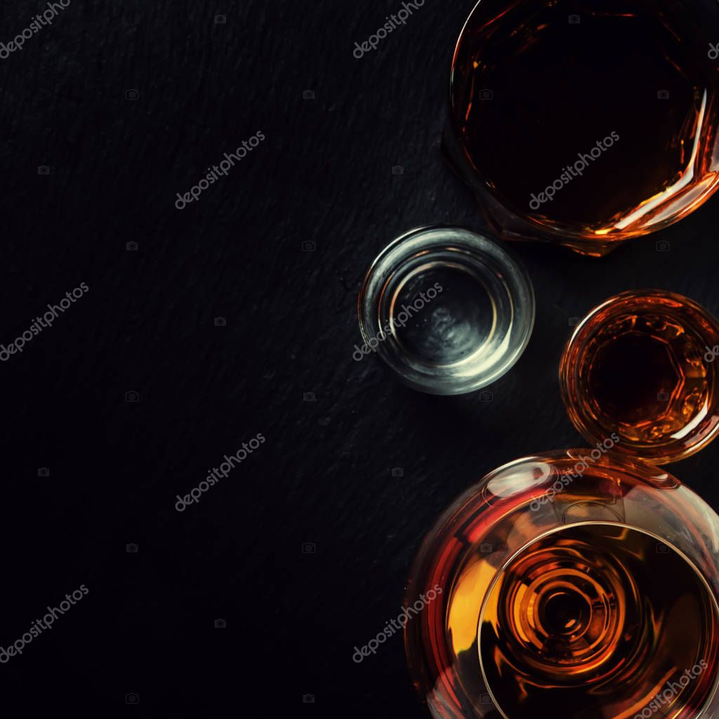 Selection Strong Alcoholic Drinks Glasses Top View