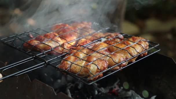 Grillező, a csirke szárny. Piknik a természetben, a grill csirke szárny.