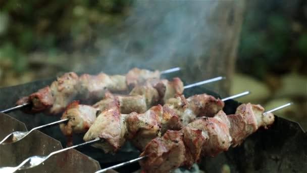 Ražniči z masa pečené na uhlí. Piknik a grilování.