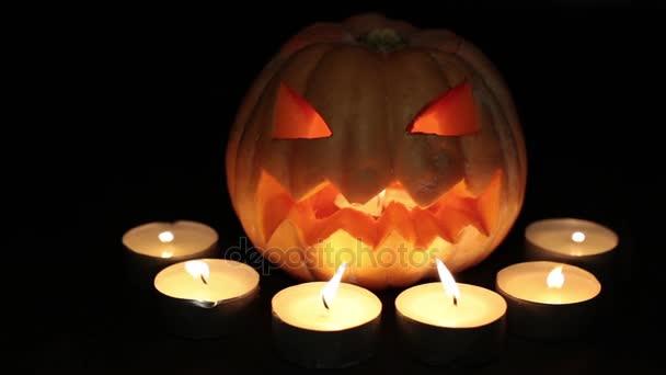 scary pumpkin lantern pumpkin jack burning candles halloween and all saints day