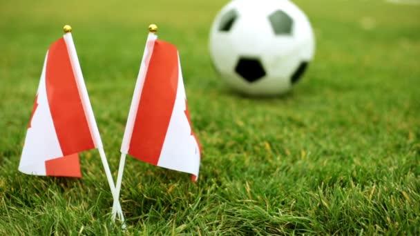 Vlajka Kanady a fotbalový míč v trávě.