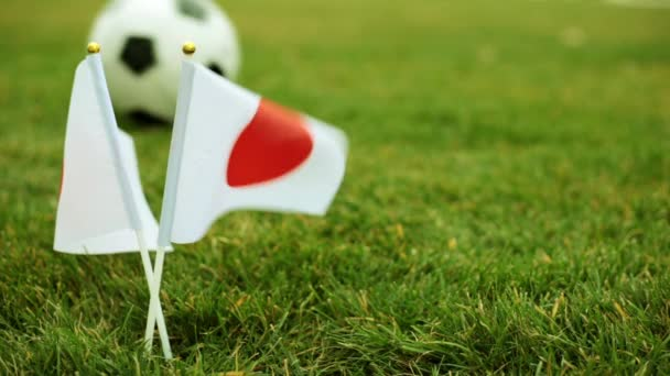 Flag of Japan against the background of a football ball on the grass. Japanese flags and soccer ball.