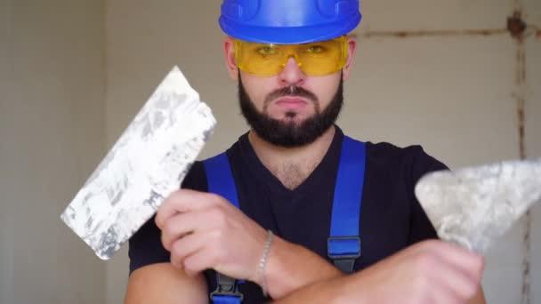 Portrait of a male plasterer builder.