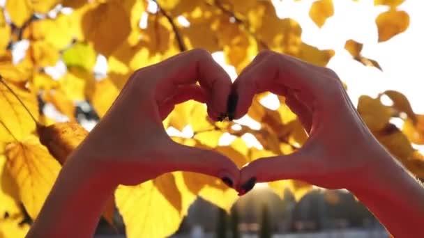 Női kéz alakú szív a háttérben a sárga őszi levelek