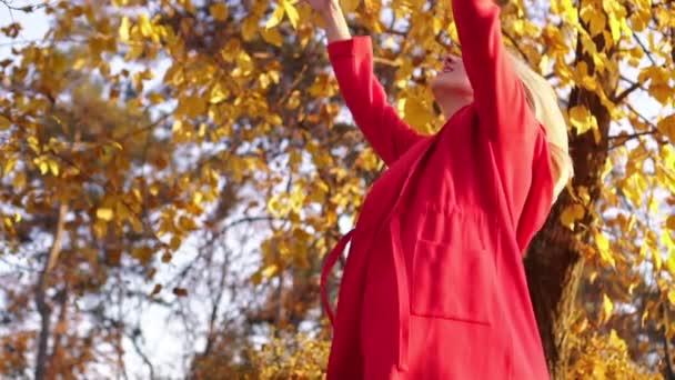 Glückliche Frau wirft Herbstblätter in den Park