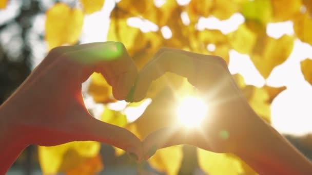 Női kéz és ujjak szív alakban, sárga őszi levelek hátterében