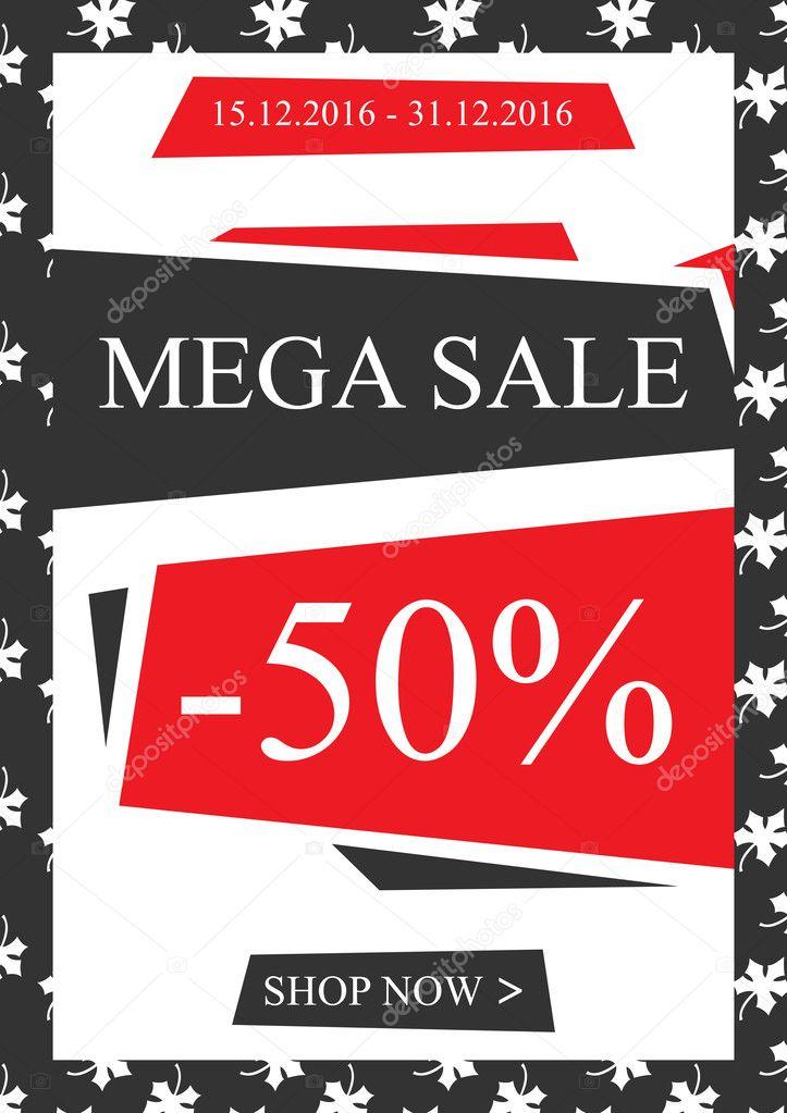 Vektor Mega Sale Werbebanner Für Online Shops Stockvektor
