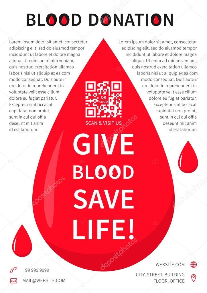 Modelo De Vetor De Cartaz De Doação De Sangue Vetor De Stock