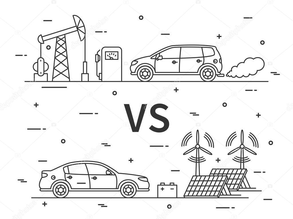 Kraftstoff-Vs-Elektro-Auto — Stockvektor © AleksOrel #129905604
