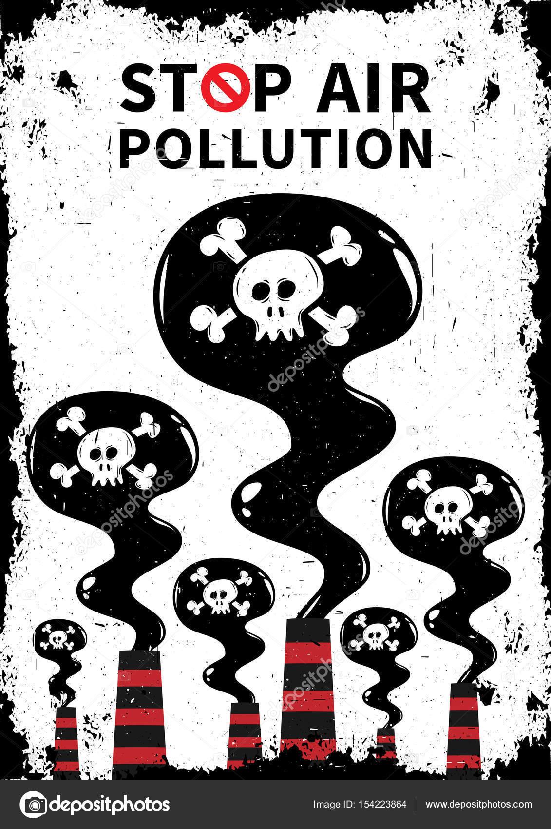 Air Pollution Skull : Stop air pollution with skull vector illustration — stock