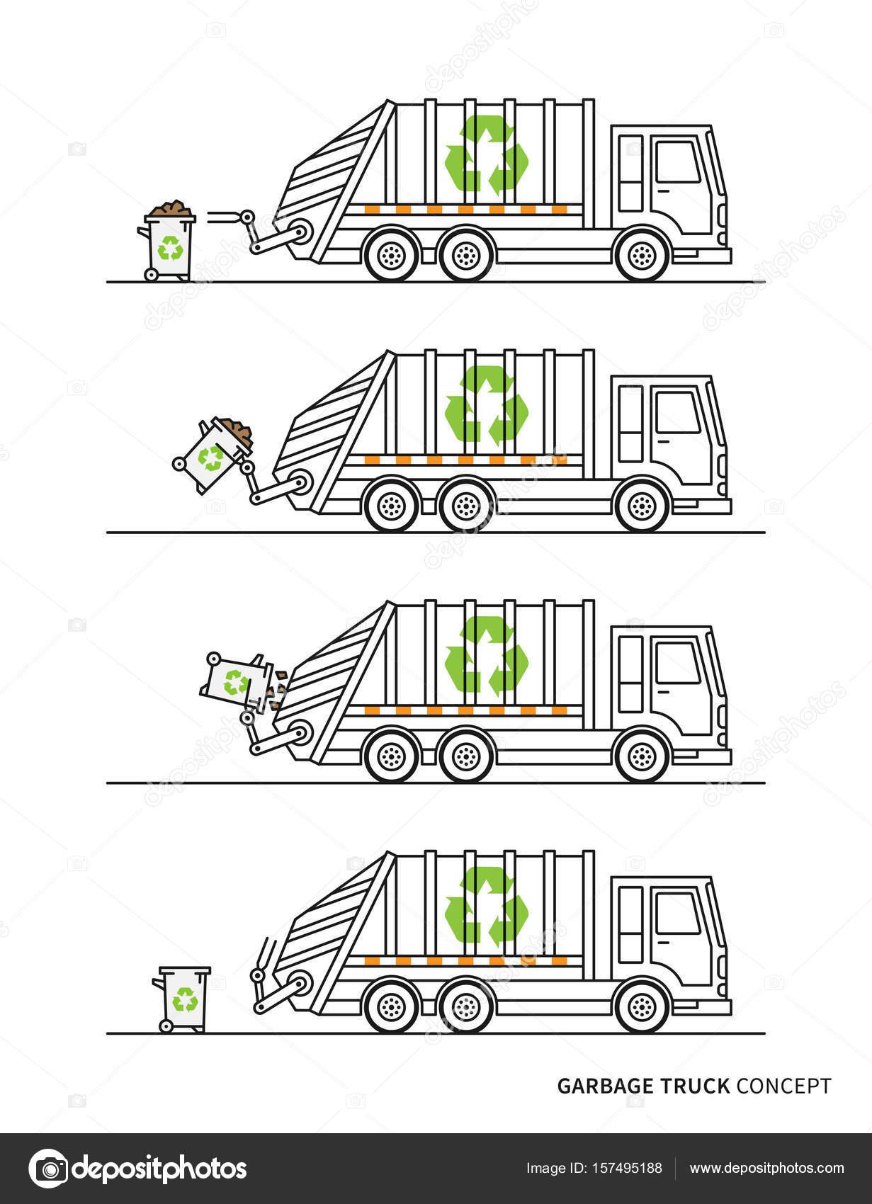 garbage truck diagram best wiring library Garbage Truck Mexico garbage truck vector illustration \u2014 stock vector