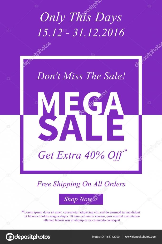 Vektor Mega Sale Werbebanner Für Online Stockvektor Aleksorel
