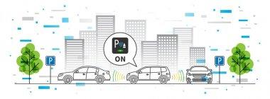 Car parking sensor vector illustration with colorful elements