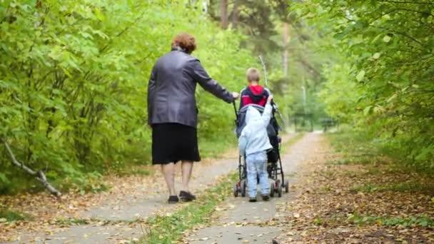 Babička s vnoučaty, procházky v parku
