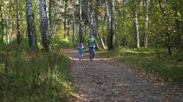 children run along the path in Park in autumn