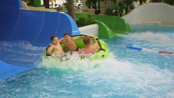 NOVOSIBIRSK,RUSSIA - November 01,2016:family having fun in water Park attraction
