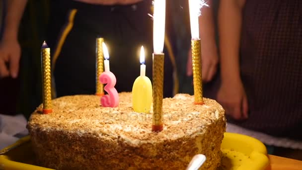 birthday cake with candles spark fireworks in dark room Blowing out